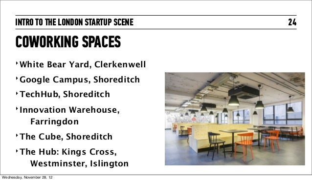 INTRO TO THE LONDON STARTUP SCENE           24      COWORKING SPACES      ‣ White          Bear Yard, Clerkenwell      ‣ G...