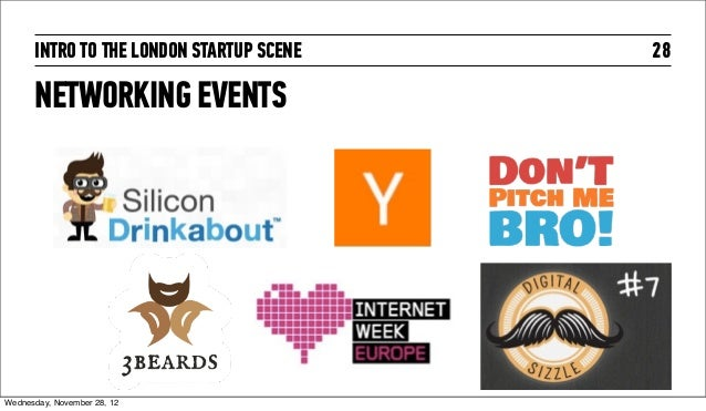 INTRO TO THE LONDON STARTUP SCENE   28      NETWORKING EVENTSWednesday, November 28, 12