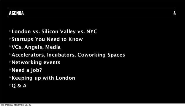 AGENDA                                                     4      ‣ London               vs. Silicon Valley vs. NYC      ‣...