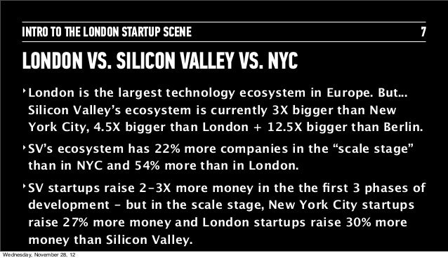 INTRO TO THE LONDON STARTUP SCENE                              7      LONDON VS. SILICON VALLEY VS. NYC      ‣ London   is...