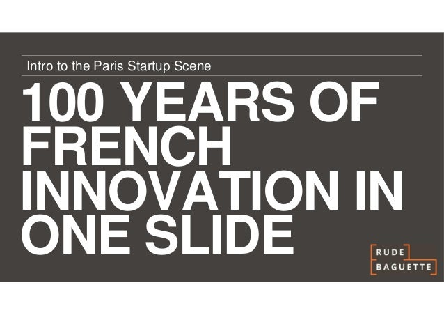 Intro to the Paris Startup Scene100 YEARS OFFRENCHINNOVATION INONE SLIDE
