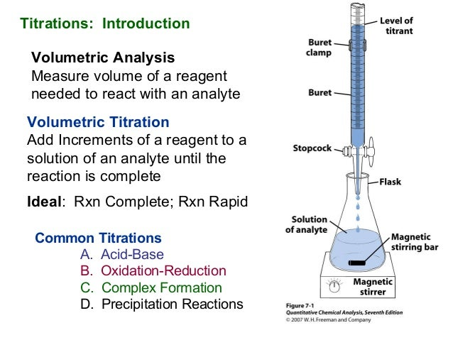 Intro to titrations titrations introduction volumetric analysis measure volume of a reagent needed to react with an analyte ccuart Gallery