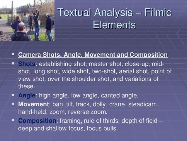 Textual Analysis – Filmic Elements  Camera Shots, Angle, Movement and Composition  Shots: establishing shot, master shot...