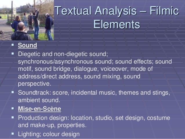 Textual Analysis – Filmic Elements  Sound  Diegetic and non-diegetic sound; synchronous/asynchronous sound; sound effect...