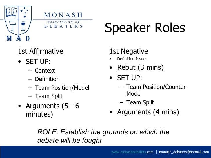negative speakers roles