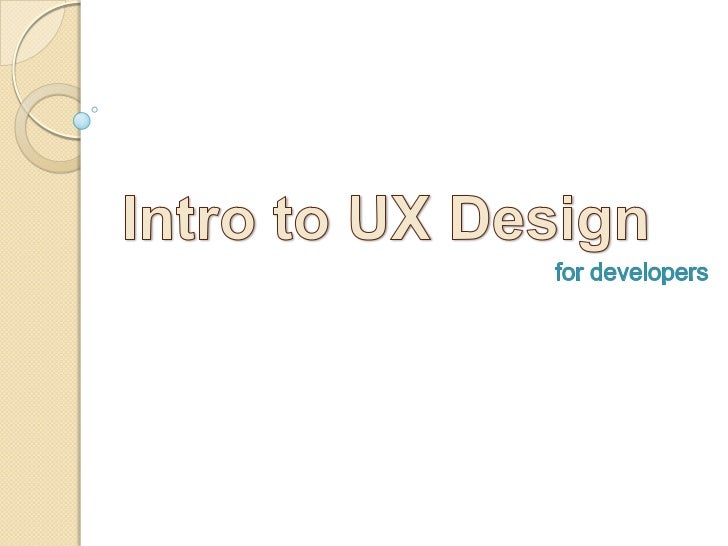 Intro to UX Design<br />for developers<br />