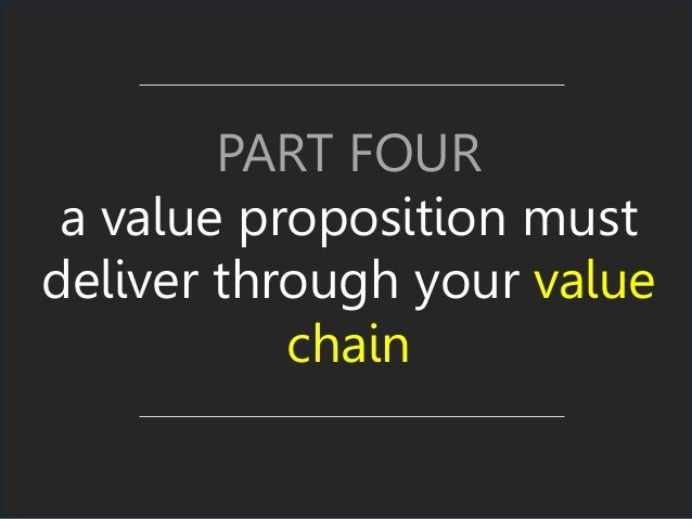 PART FOUR a value proposition must deliver through your value chain