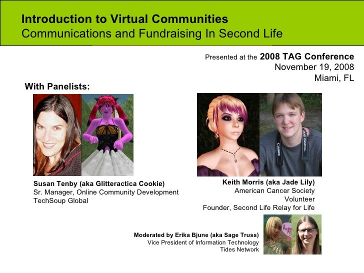 Introduction to Virtual Communities  Communications and Fundraising In Second Life Moderated by Erika Bjune (aka Sage Trus...