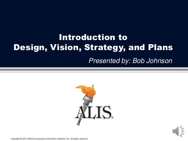 Introduction to  Design, Vision, Strategy, and Plans                                                                      ...
