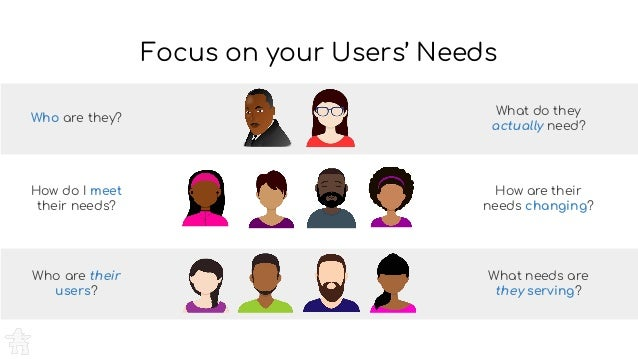 Who are they? What do they actually need? What needs are they serving? Who are their users? Focus on your Users' Needs How...