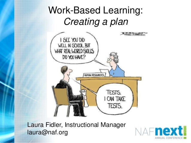 Work-Based Learning: Creating a plan Laura Fidler Instructional Manager, NAF laura@naf.org Laura Fidler, Instructional Man...