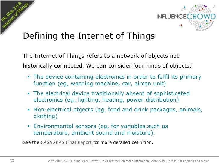 The Internet of Things refers to a network of objects not historically connected. We can consider four kinds of objects:<b...