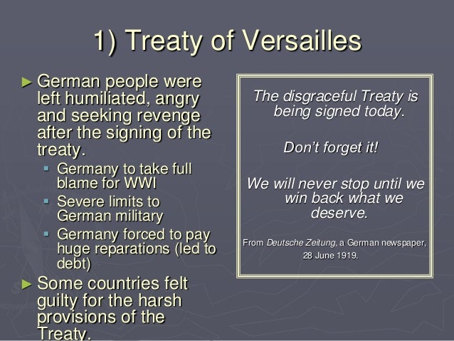 causes of wwii Some causes of world war ii were the aggressive actions of germany, japan, and italy and the german resentment caused by the treaty of versailles the great depression also allowed authoritarian.