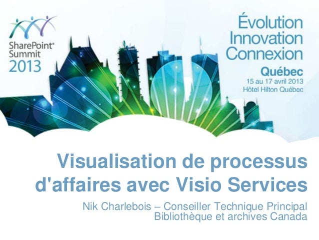 Visualisation de processus d'affaires avec Visio Services Nik Charlebois – Conseiller Technique Principal Bibliothèque et ...