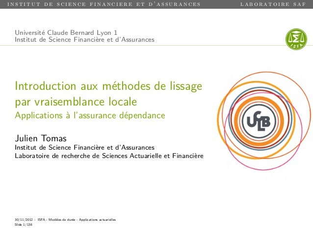 institut de science financiere et d'assurances                      laboratoire saf Université Claude Bernard Lyon 1 Insti...