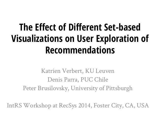 The Effect of Different Set-based Visualizations on User Exploration of Recommendations  KatrienVerbert, KU Leuven  Denis ...