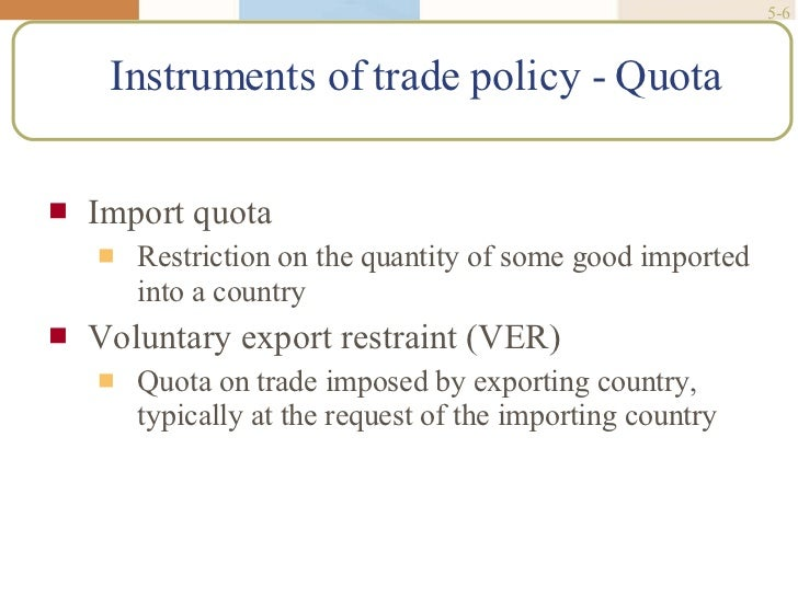 trade policy instruments in the modern Module ii: trade agreements and instruments of trade policy the focus of this module is the wto system and the myriad of multilateral trade agreements that form the basis for governance of modern international trade.