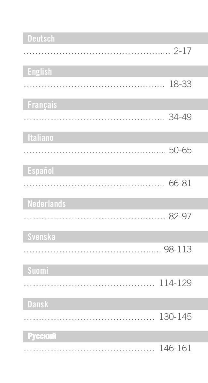 Deutsch ………………………………………..... 2-17 English ………………………………….…..... 18-33 Français …………………………………..….... 34-49 Italiano ……………………...