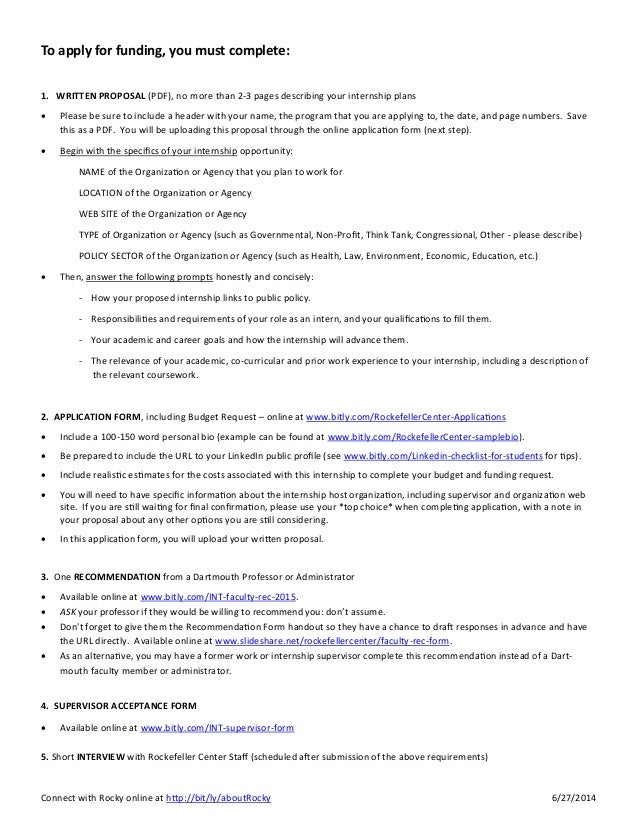 Rockefeller Center Internship Funding Program Tip Sheet 2015