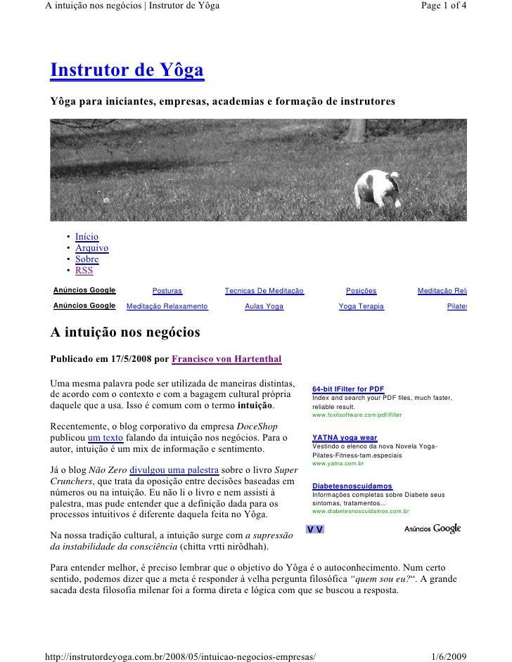 A intuição nos negócios | Instrutor de Yôga                                                               Page 1 of 4     ...