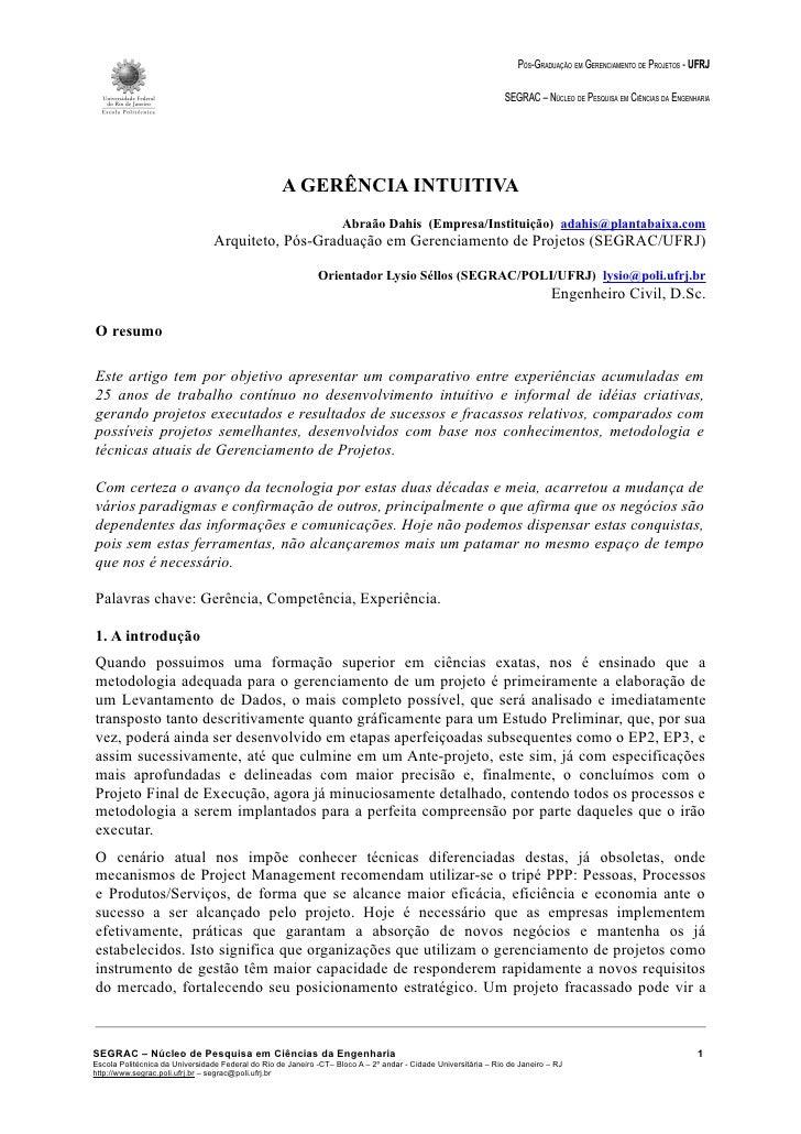 PÓS-GRADUAÇÃO EM GERENCIAMENTO DE PROJETOS - UFRJ                                                                         ...