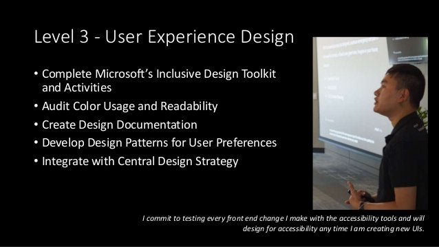 Level 3 - User Experience Design • Complete Microsoft's Inclusive Design Toolkit and Activities • Audit Color Usage and Re...