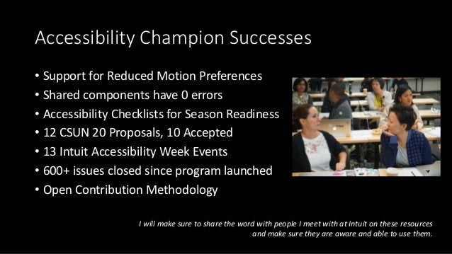 Accessibility Champion Successes • Support for Reduced Motion Preferences • Shared components have 0 errors • Accessibilit...