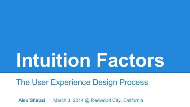 Intuition Factors The User Experience Design Process Alex Shirazi  March 3, 2014 @ Redwood City, California