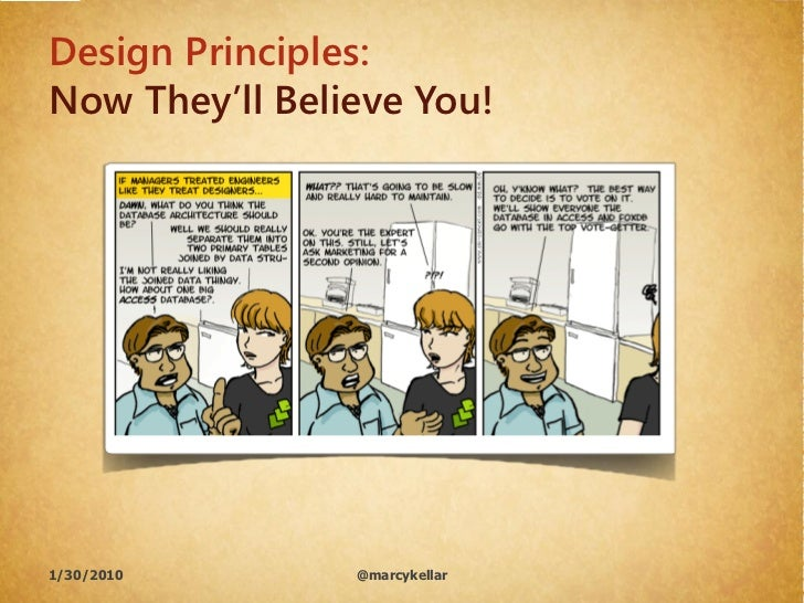 Design Principles: Now They'll Believe You!     1/30/2010       @marcykellar