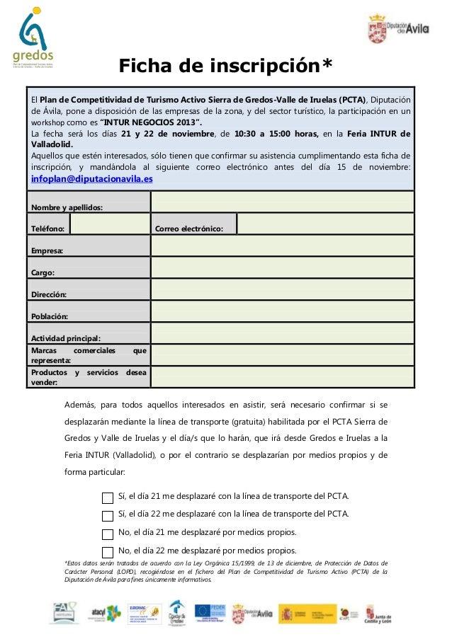 Ficha de inscripción* El Plan de Competitividad de Turismo Activo Sierra de Gredos-Valle de Iruelas (PCTA), Diputación de ...