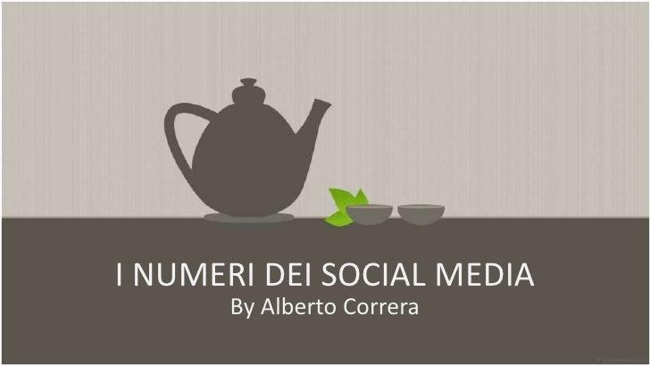 I NUMERI DEI SOCIAL MEDIA      By Alberto Correra