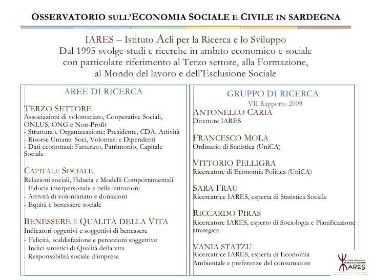I numeri della Sardegna - Osservatorio sull'Economia Sociale e Civile in Sardegna Slide 2