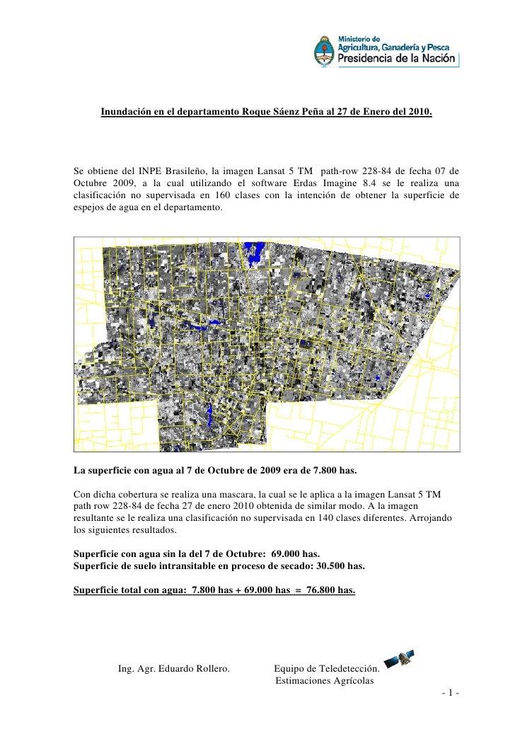 Inundación en el departamento Roque Sáenz Peña al 27 de Enero del 2010.     Se obtiene del INPE Brasileño, la imagen Lansa...