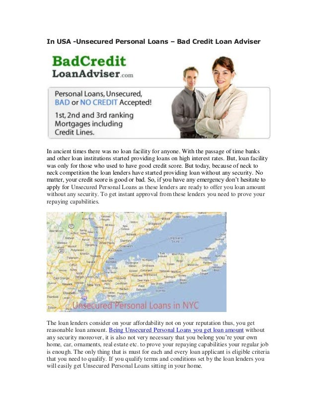 Unsecured Bad Credit Loans >> In Usa Unsecured Personal Loans Bad Credit Loan Adviser