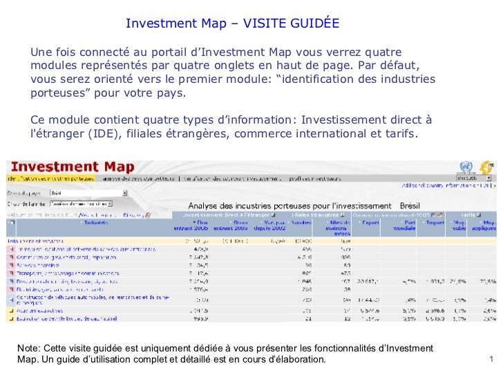 Une  fois connecté au portail d'Investment Map vous verrez quatre modules représentés par quatre onglets en haut de page. ...