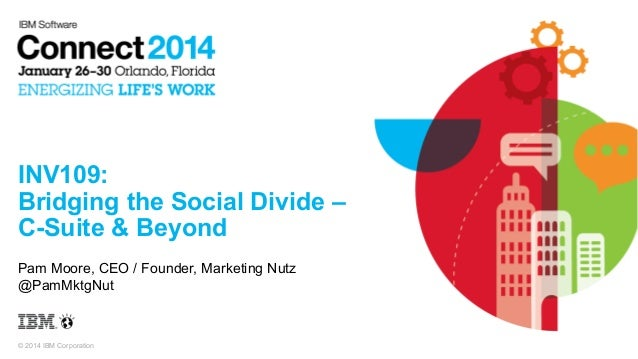 INV109: Bridging the Social Divide – C-Suite & Beyond Pam Moore, CEO / Founder, Marketing Nutz @PamMktgNut  © 2014 IBM Cor...