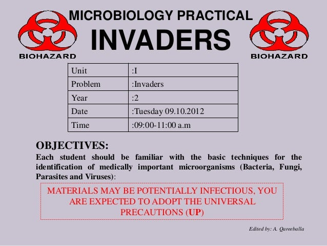 MICROBIOLOGY PRACTICAL  INVADERS Unit  :I  Problem  :Invaders  Year  :2  Date  :Tuesday 09.10.2012  Time  :09:00-11:00 a.m...