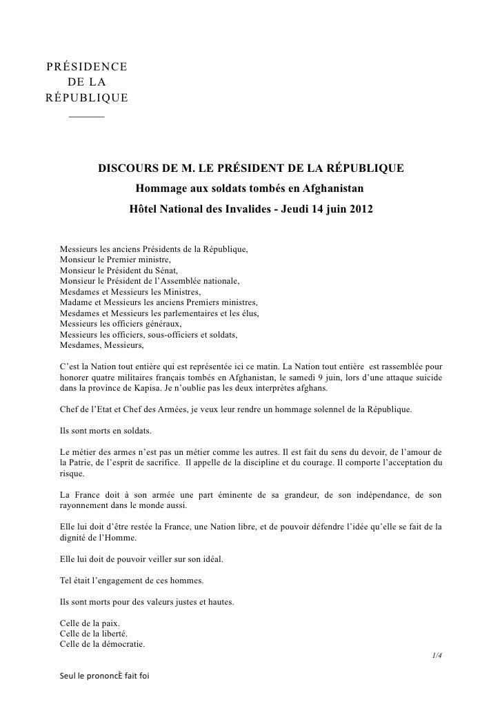 PRÉSIDENCE   DE LARÉPUBLIQUE   ______           DISCOURS DE M. LE PRÉSIDENT DE LA RÉPUBLIQUE                      Hommage ...