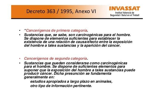 """Decreto 363 / 1995, Anexo VI  • """"Cancerígenos de primera categoría. • Sustancias que, se sabe, son carcinogénicas para el ..."""