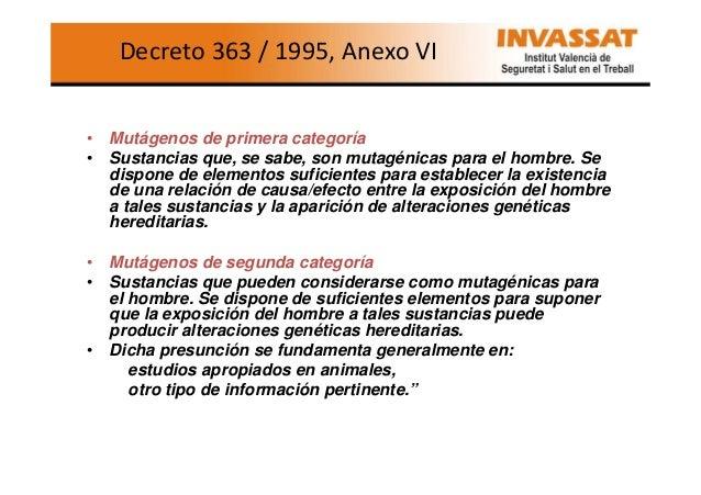 Decreto 363 / 1995, Anexo VI  • Mutágenos de primera categoría • Sustancias que, se sabe, son mutagénicas para el hombre. ...