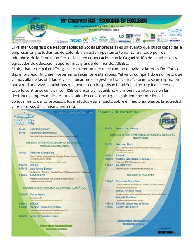El Primer Congreso de Responsabilidad Social Empresarial es un evento que busca capacitar a empresarios y estudiantes de C...