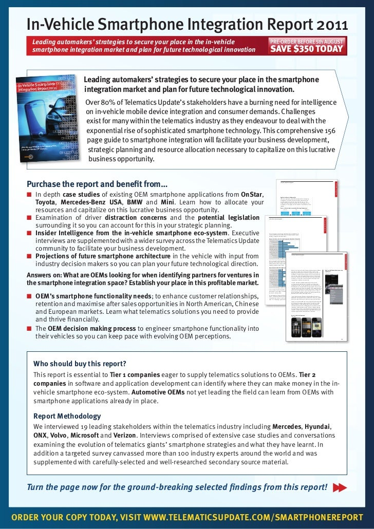 In-Vehicle Smartphone Integration Report 2011              Leading automakers' strategies to secure your place in the in-v...