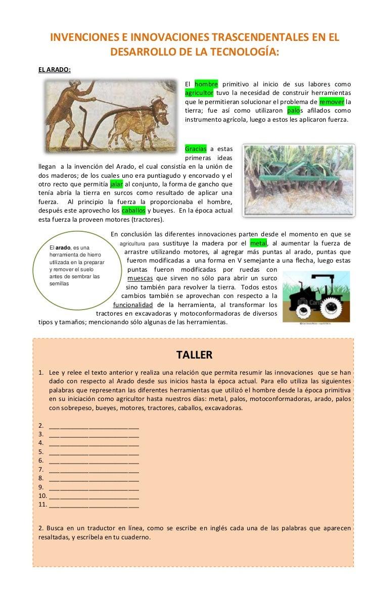 INVENCIONES E INNOVACIONES TRASCENDENTALES EN EL            DESARROLLO DE LA TECNOLOGÍA:EL ARADO:                         ...