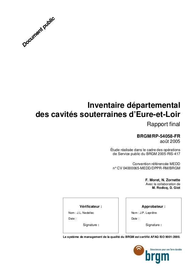 inventaire d u00e9partemental des cavit u00e9s souterraines d u2019eure