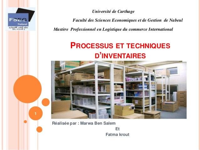 Université de Carthage             Faculté des Sciences Economiques et de Gestion de Nabeul    Mastère Professionnel en Lo...