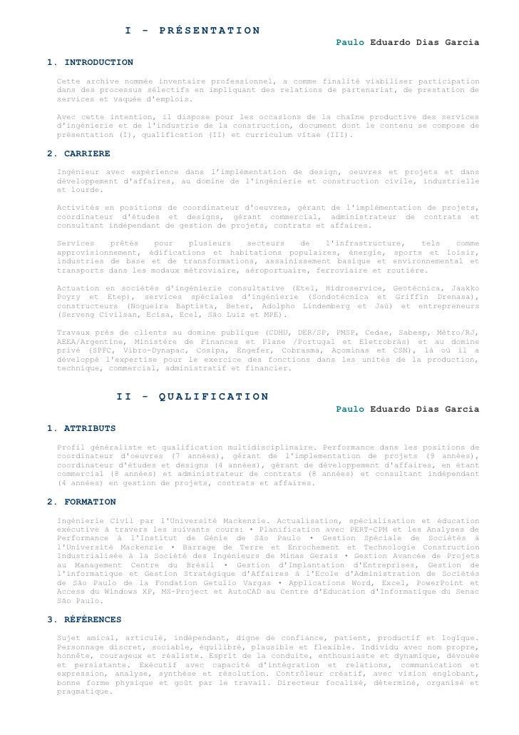 I - PRÉSENTATION                                                            Paulo Eduardo Dias Garcia  1. INTRODUCTION  Ce...