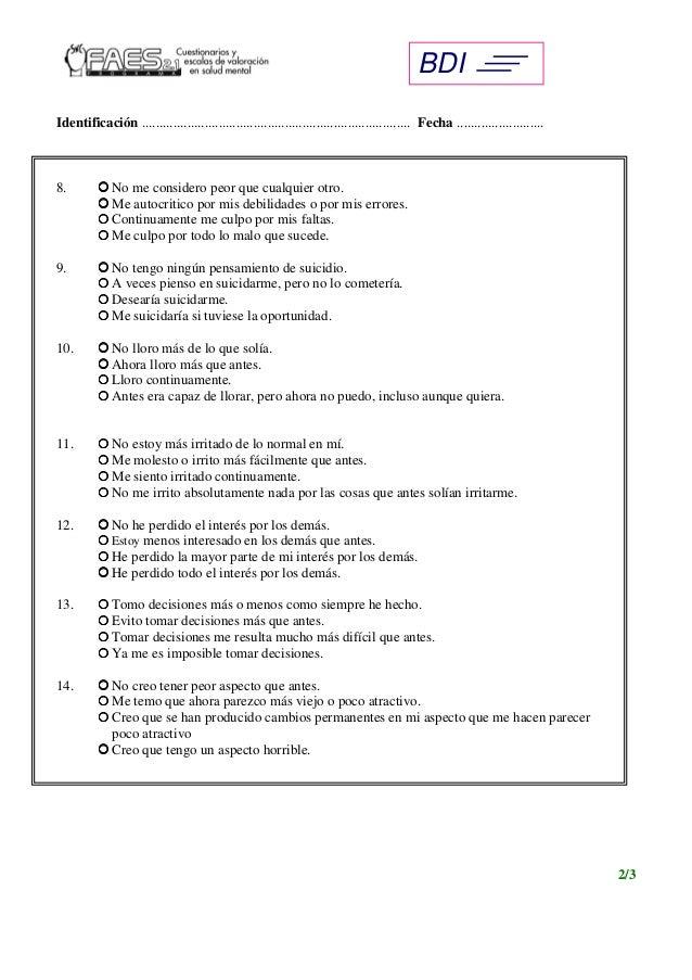 (PDF) Inventario de depresión de Beck   Psyciencia