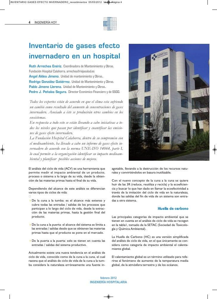 INVENTARIO GASES EFECTO INVERNADERO_revestimientos 05/03/2012 12:25 Página 4            4   INGENIERÍA HOY            Inve...