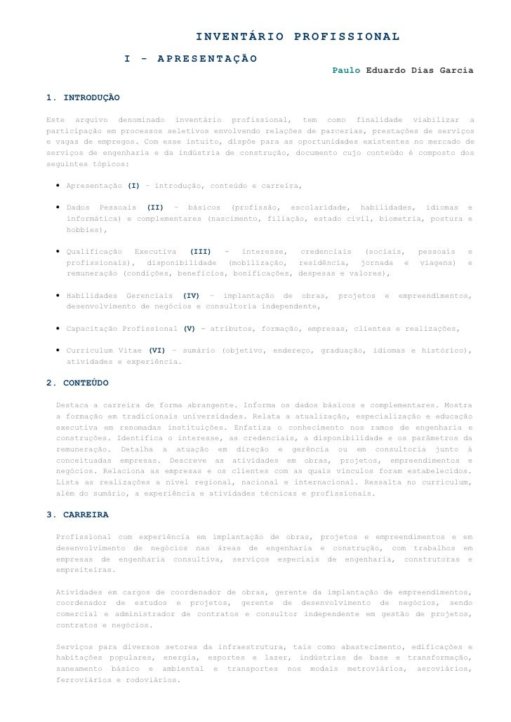 I - APRESENTAÇÃO                                                               Paulo Eduardo Dias Garcia  1. INTRODUÇÃO  E...