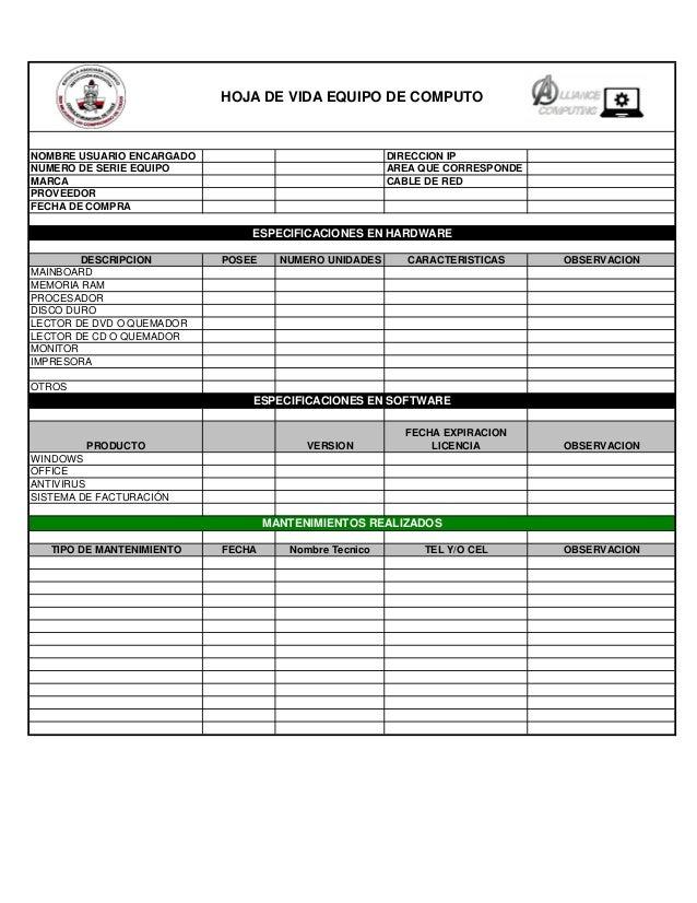 NOMBRE USUARIO ENCARGADO DIRECCION IP NUMERO DE SERIE EQUIPO AREA QUE CORRESPONDE MARCA CABLE DE RED PROVEEDOR FECHA DE CO...
